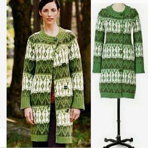 2005 Anthro Sparrow Pine Cricket Sweater Coat